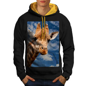 Black Hoodie Men gold Hood Contrast Wild Giraffe Sky Animal New wAq0XvZ