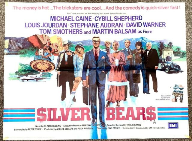 "Silver Bears, Michael Caine, original uk quad cinema poster 1977, 40""x30"""