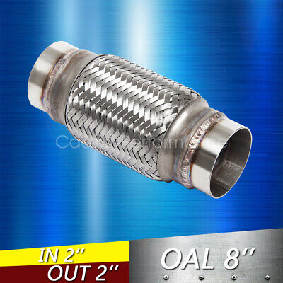 """Exhaust Flex Pipe Stainless Steel Double Braid 2/"""" x 6/"""" w// Ends 8/"""" OAL"""