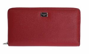 NEW-640-DOLCE-amp-GABBANA-Wallet-Red-Leather-Dauphine-Continental-Clutch-Zipper