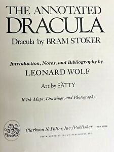 The-Annotated-Dracula-by-Bram-Stoker-Notes-by-Leonard-Wolf-1975-Hardcover-1st-Ed