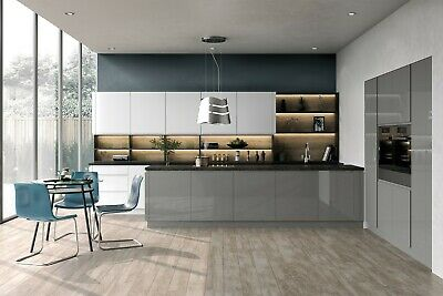 Anthracite Graphite Handleless Lucente High Gloss Replacement Kitchen Doors