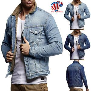Men-039-s-Casual-Coat-Jean-Jacket-Denim-Warm-Fur-Collar-Fleece-Lined-Winter-Cardigan