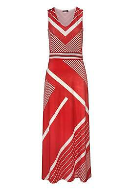 Kleid Maxi Kleid Tamaris ärmellos Sommer rot weiß gestreift Gr 36 38 40 42 44