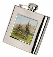 6oz Stainless Steel Hip Flask & Funnel - Shooting Pheasant Fly Fishing Stag Dogs