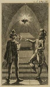 Chodowiecki (1726-1801). due cavalieri in una tomba; pressione grafico