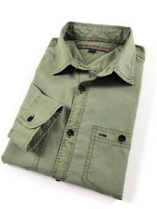 TOMMY-HILFIGER-Shirt-Men-s-Military-Green-Double-Pocket-Custom-Fit-Long-Sleeve