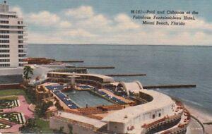 Postcard Pool Cabanas Fontainebleau Hotel Miami Beach Fl Ebay