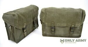 PAIR-of-French-Army-Leather-Lined-Motorcycle-Panniers-Heavy-Duty-Canvas-Tool-Bag