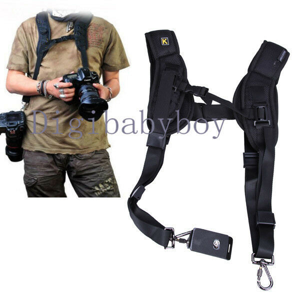 Double Shoulder Sling Belt Quick Rapid Strap for 2 DSLR Digital SLR Camera