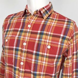 J-Crew-Multicolor-Plaid-Flannel-Outdoor-Shirt-Mens-Small-Red-Blue-Yellow-White
