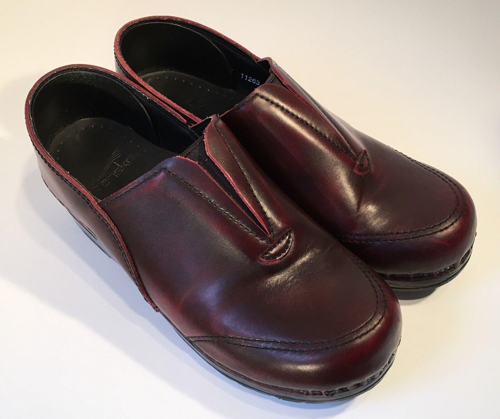 Dansko Professional Stapled Cordovan Leather Clogs Womens 38 - UNIQUE