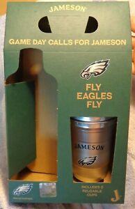 Jameson Irish Whiskey - Philadelphia Eagles (2) Plastic Cups & Promo Box...NEW