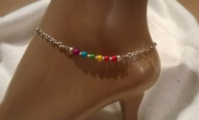 Multi colored, rainbow, turquoise, ankle bracelet, pride anklet