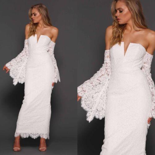 kant schouder off Dames wijd uitlopende Zeitoune mouw jurk shoulder wit Elle bel maxi lange 0XknOP8w