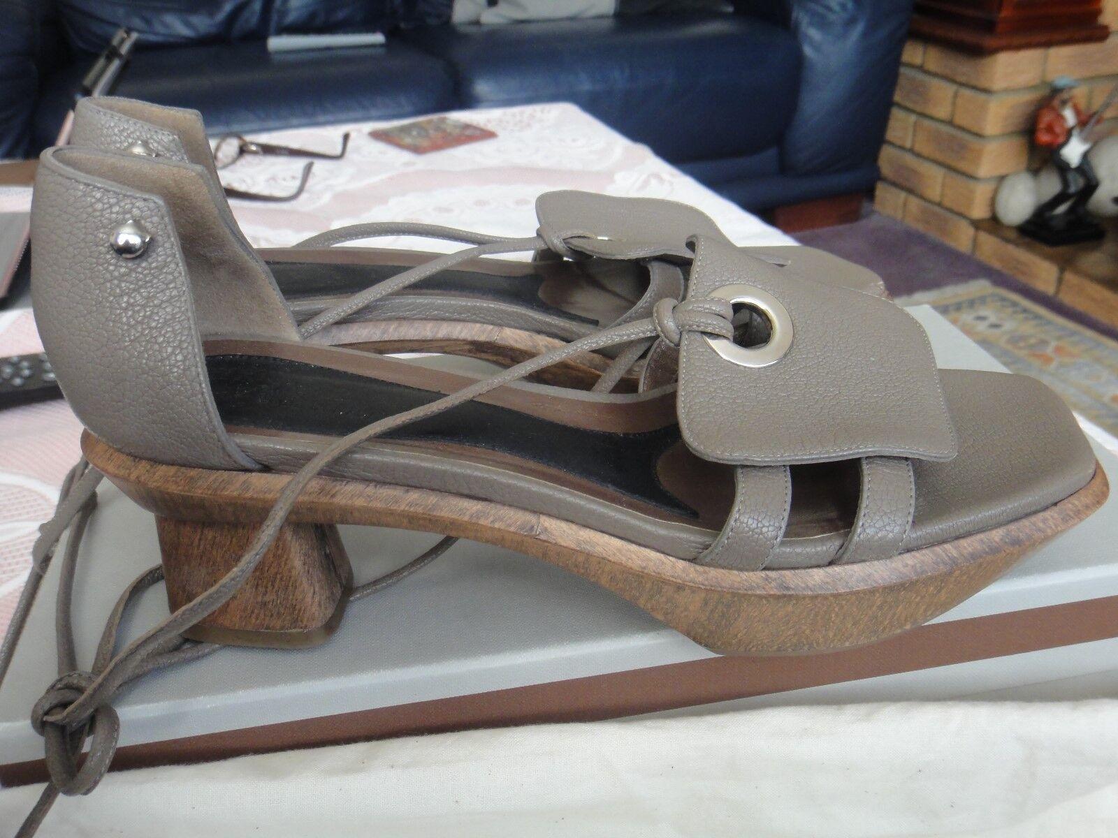 Marni Antic Plata Sandalias De Cuero De Cabra (samsj 32G05) Raro