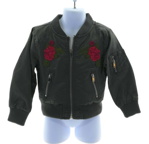 Urban Republic Toddler Girls Floral Bomber Jacket Long Sleeve Front Zipper