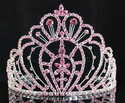 QUEEN PINK AUSTRIAN RHINESTONE CROWN TIARA W/ HAIR COMBS PAGEANT PROM H469P