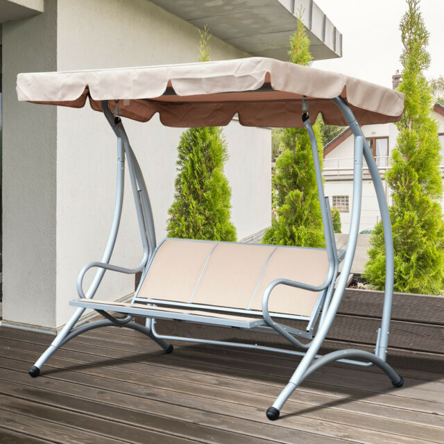 Outsunny Garden Metal Swing Chair Patio Hammock 3 Seater Adjule Canopy Bench