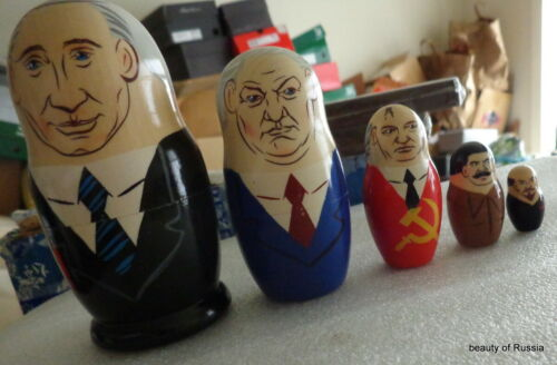 WOOD Hand painted  RUSSIAN SOVIET LEADERS NESTING DOLL 5 PCS