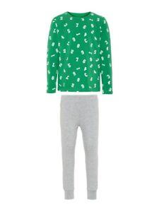 NAME-IT-Jungen-Pyjama-Schlafanzug-grau-gruen-Zahlen-Groesse-86-bis-164