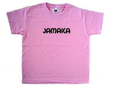 Jamaica text Pink Kids T-Shirt