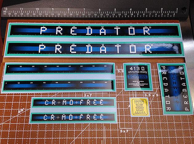 1983 - 1984 Schwinn BMX 20  Predator Vintage Restoration Decal Set Aqua & blueeeeeeeee