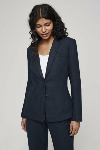 Long Tall Sally Tall Womens Linen Suit Jacket in Navy