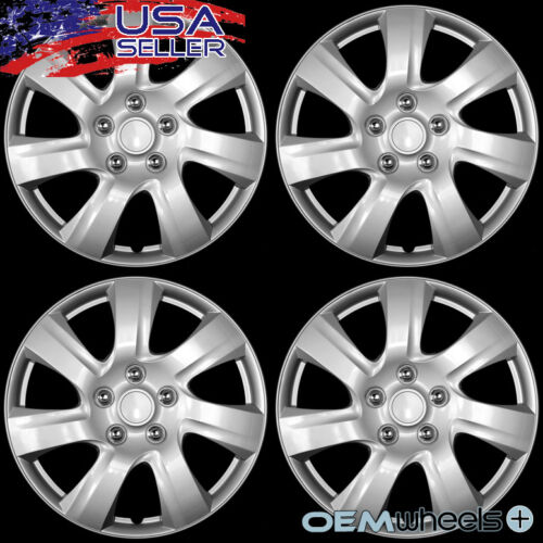 """4 NEW OEM SILVER 15/"""" HUB CAPS FITS NISSAN SUV CAR TRUCK CENTER WHEEL COVERS SET"""