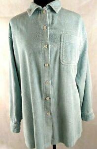 LL-Bean-Comfort-Wide-Whale-Women-2X-Size-Blue-Corduroy-Shirt-Top-Blue-a2