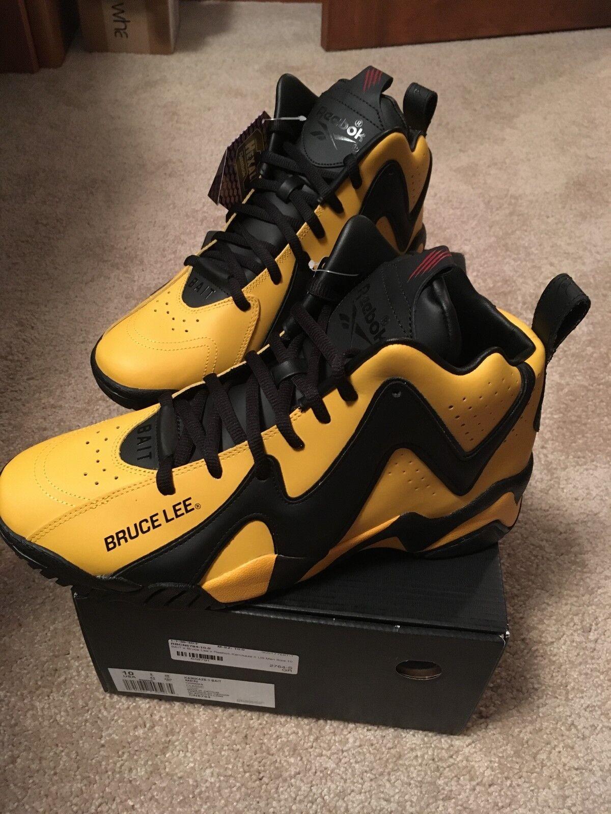 Mens Size 10 Reebok x Bait x Bruce Lee Kamikaze 2 Black Yellow CN5794 NEW DS