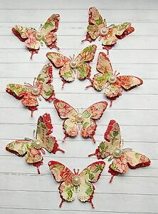 10-Schmetterlinge-Scrapbooking-Hobby-Basteln-Butterfly-Wanddeko-Vintage
