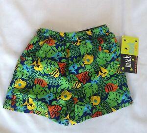 d551b6fb63 Mick Mack baby boy bathing swim suit short trunks blue green fish ...