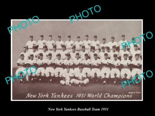 OLD LARGE HISTORIC PHOTO OF THE NEW YORK YANKEES 1951 BASEBALL M