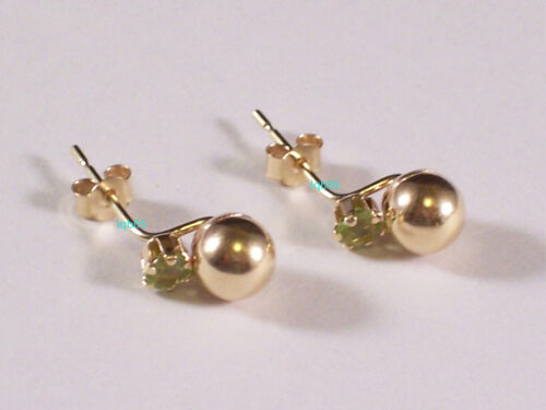 Round Pendant Heart New 9ct Gold Yellow White Peridot Earrings Pair Stud