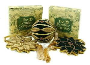 Bombay Company Gold Velvet Fabric Ball Cross Lot of 3 ...