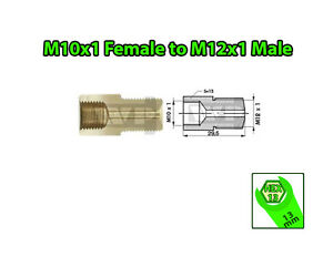 Brake-Line-Pipe-Brass-M10x1-Female-to-M12x1-Male-Fitting-Connector-Coupler