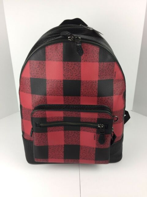081baf5470 Coach F31291 West Laptop Backpack Book Bag Leather Red Black Plaid Print
