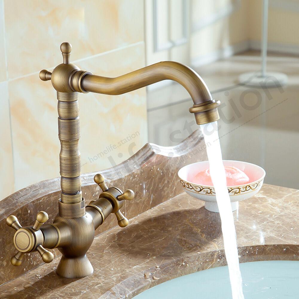 robinet salle de bain ancien vintage antique cuisine double poign e cuivre tap ebay. Black Bedroom Furniture Sets. Home Design Ideas