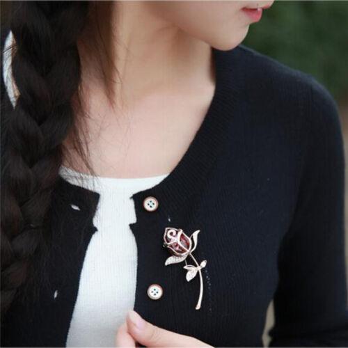 Fashion Brooch Jewelry Crystal Rhinestone Roses Brooch Pin Elegent Wedding  Vh