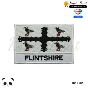 FLINTSHIRE-Wales-County-Flag-With-Name-Embroidered-Iron-On-Sew-On-Patch-Badge