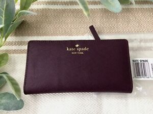 NWT KATE SPADE MIKAS POND STACY Bifold LEATHER WALLET Softauberg Purple 1691 NEW