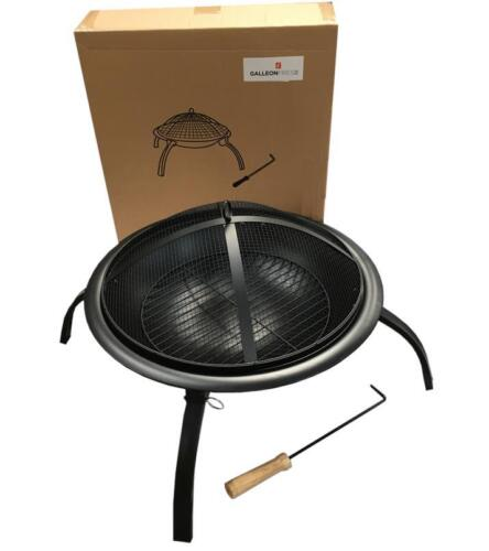 Round Outdoor Firepit Patio Garden Heater// folding legs Grate and Poker