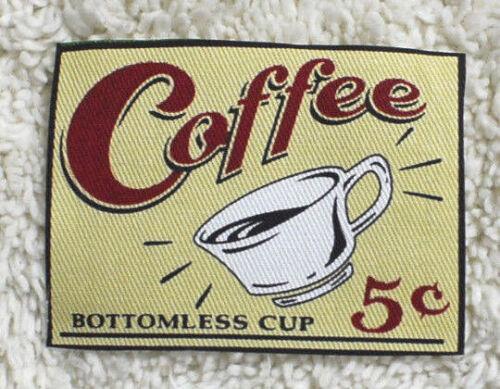 Chic-----Cotton----Raw edge Fabric Coffee Labels --7 cm x Wide x 5 cm High-