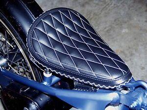 Biltwell Diamond Stitch Solo Seat Harley Chopper Rigid Custom Spring Mount
