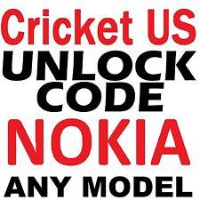 Unlock Code for Cricket USA Nokia Lumia 520 530 620 630 635 1320 Premium Service