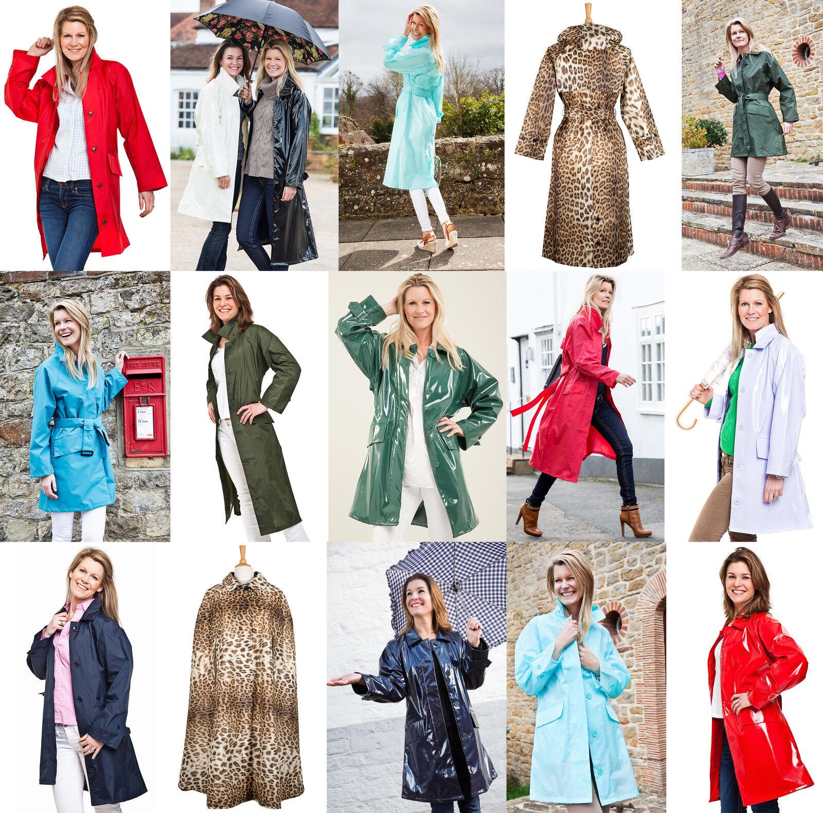 Damen Rainmac Wasserfest Mantel Lang oder ¾ Länge Regenmäntel & Poncho Cape