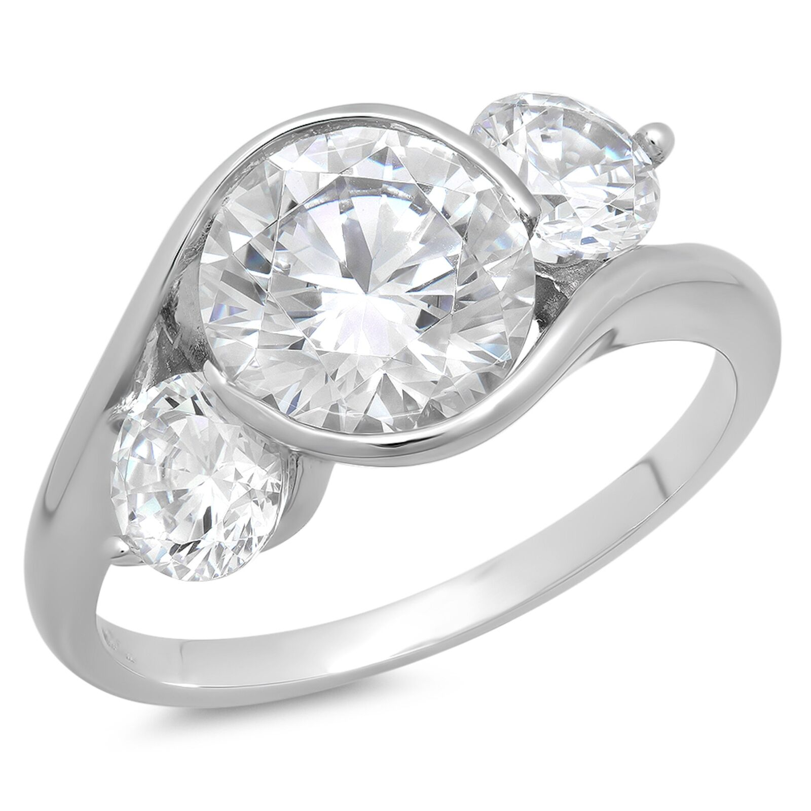 3.6ct Round Cut 3Stone Engagement Wedding Bridal Anniversary Ring 14k White gold