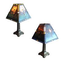 Leaded Stained Art Glass Multi Scene Golf Theme Lamp