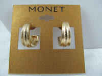 Monet Gold Chunky Hoop Earrings, Etched Design, Shiny, Medium Size